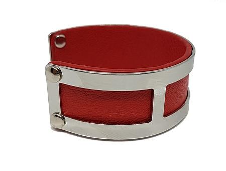 Manchette rectangles simili cuir rouge droit 2