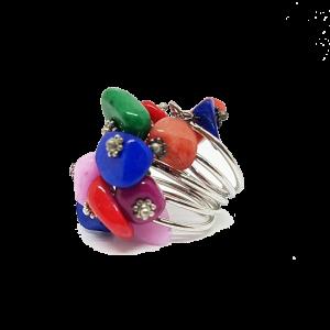 Bague réglable en pierres naturelles multicolores