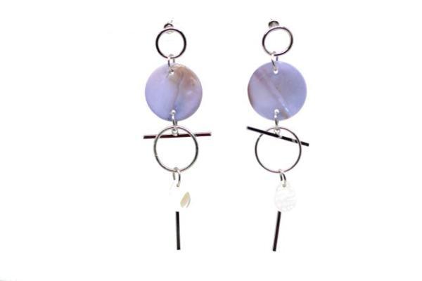 Boucles d'oreilles disques métalliques et nacre Couleur bleu