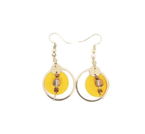 Boucles d'oreilles pastille métal jaune