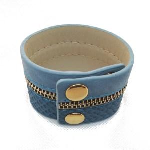 Bracelet manchette serpent et fermeture métal Couleur bleu 3