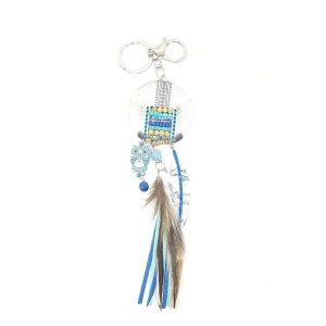 Porte clé plume bleu