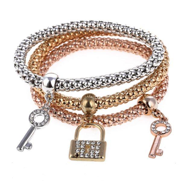 Bracelet charms cadenas clés2