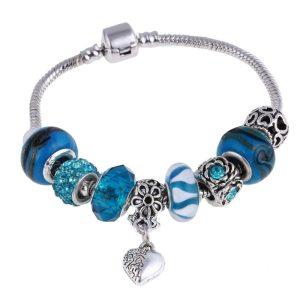 Bracelet charms perles bleues