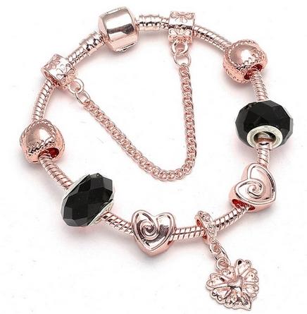 Bracelet charms rose gold et noir