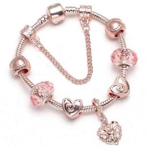 Bracelet charms rose gold et rose