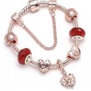 Bracelet charms rose gold rouge