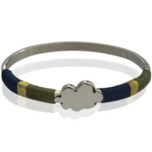 Bracelet jonc argenté fils kaki bleu