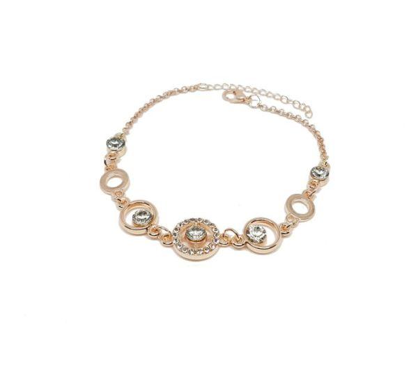 Bracelet anneau strass rose gold