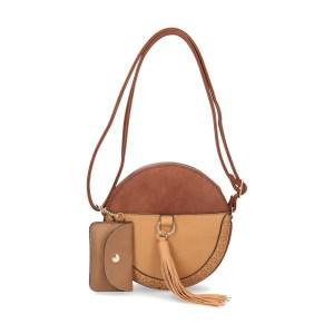 pochette bicolore ronde marron