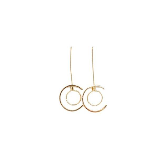 Boucles d'oreilles demi cercle et cercle dorées