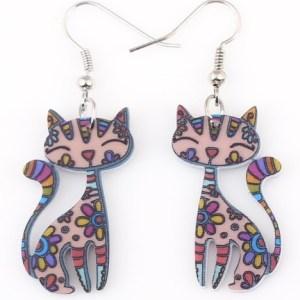 boucles d'oreilles chat multicolore
