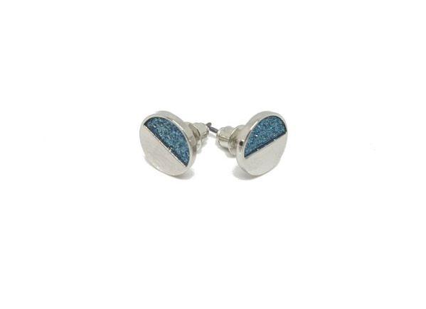 Clous d'oreilles pailletés bleu argenté