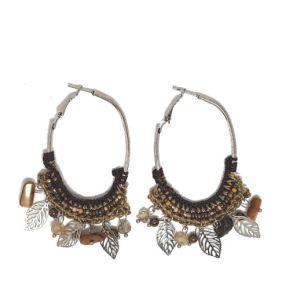 boucles d'oreilles pendantes marrons
