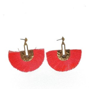 Boucles d'oreilles éventail corail