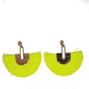 Boucles d'oreilles éventail jaune fluo
