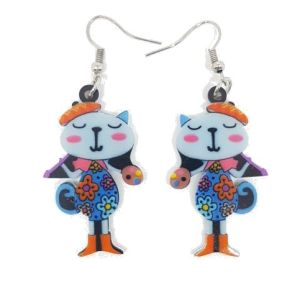 boucles d'oreilles chat peintre