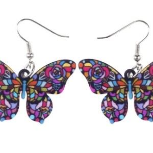 boucles d'oreilles papillon multicolore