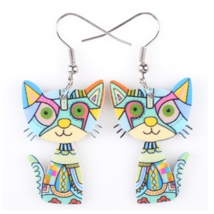 Boucles d'oreilles chat bleu