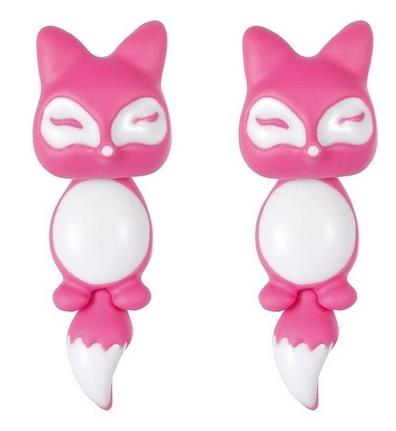 Boucles d'oreilles chat rose et blanc
