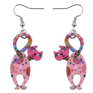 Boucles d'oreilles chaton rose