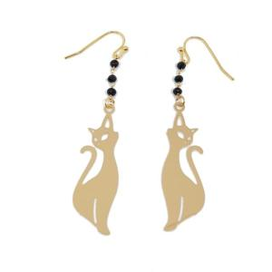 Boucles d'oreilles pendantes chat or