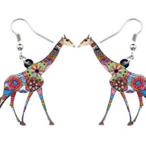 Boucles d'oreilles girafe fleurs