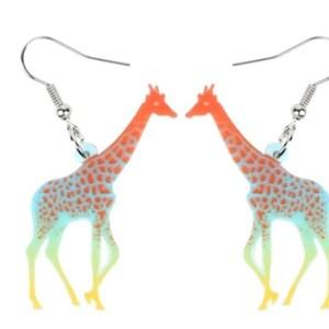 Boucles d'oreilles girafe multicolore