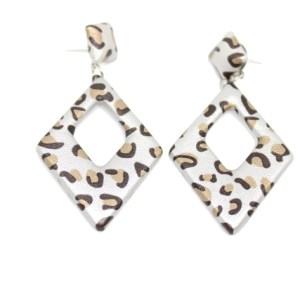 Boucles d'oreilles léopard gris clair