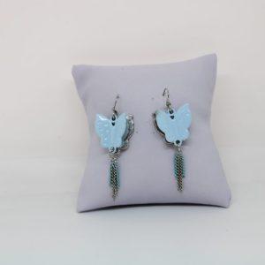 Boucles d'oreilles papillon bleu 3D