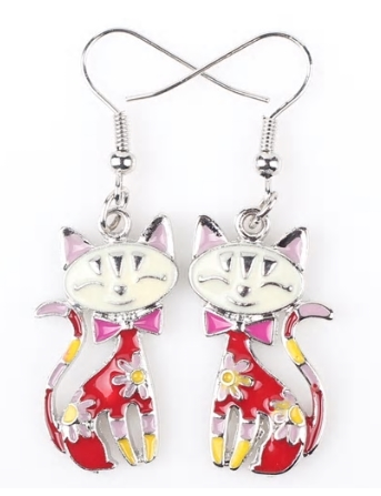 Boucles d'oreilles chat email rouge