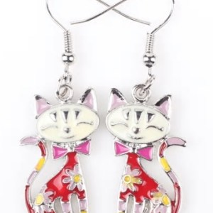 Boucles d'oreilles chat email rouge