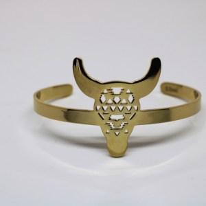 Bracelet doré tête de taureau