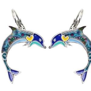 Boucles d'oreilles émail dauphin