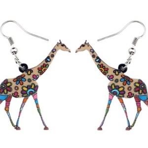 Boucles d'oreilles girafe marron