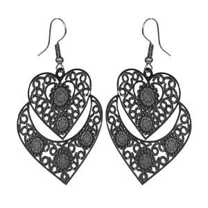 Boucles d'oreilles fantaisie pendantes couleur noir - Coeur ciselé