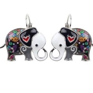 Boucles d'oreilles émail éléphant