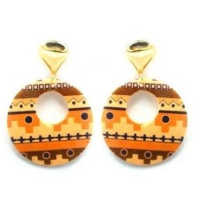 Boucles d'oreilles anneau marron