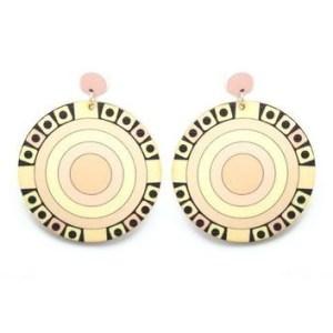 Boucles d'oreilles rondes beiges roses