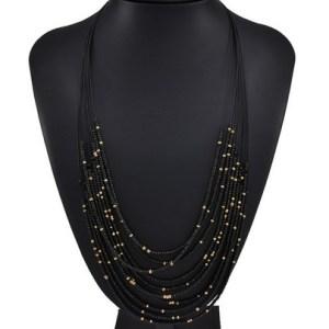 Sautoir petites perles noires