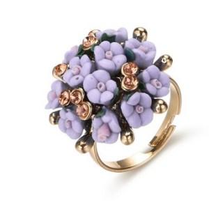 Bague bouquet de fleurs violet