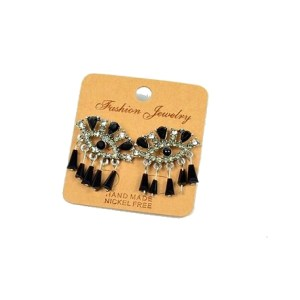 Boucles d'oreilles perles et strass noir