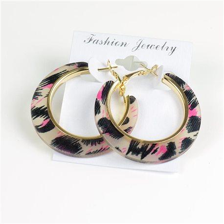 Boucles d'oreilles créoles panthère rose