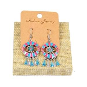 Boucles d'oreilles perles et strass bleu rose
