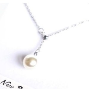 Collier pendentif perle blanche