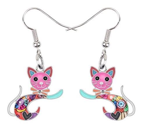 Boucles d'oreilles chat émail multicolore