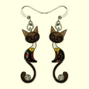 Boucles-doreilles-chat-email-strass-noir-bijoux