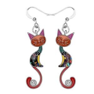 Boucles d'oreilles chat émail strass rouge