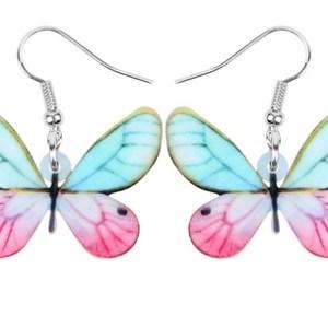 Boucles d'oreilles papillon rose et bleu