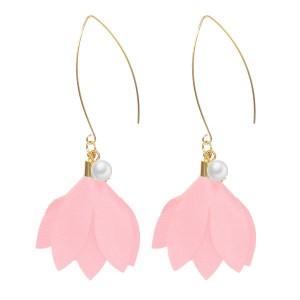 Boucles d'oreilles perle et fleur rose